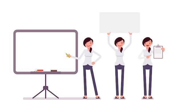 Set di impiegato femminile in abbigliamento formale con cornici, copyspace Vettore Premium