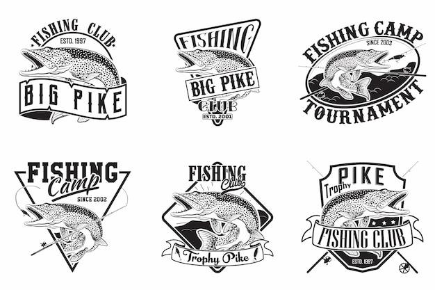 Set di disegni emblemi vintage club di pesca Vettore Premium