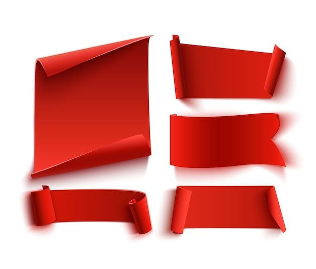 Set di cinque striscioni di carta rossi, realistici. Vettore Premium
