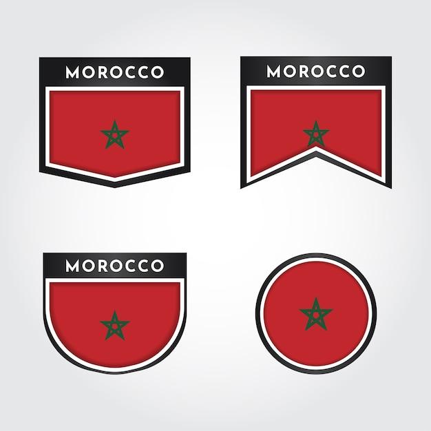 Impostare la bandiera del marocco con l'etichetta Vettore Premium