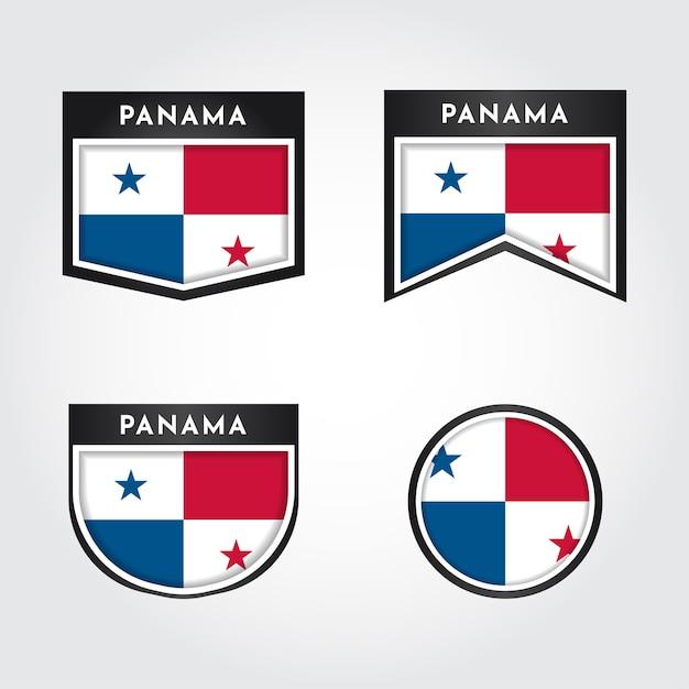Impostare la bandiera del panama etichetta Vettore Premium