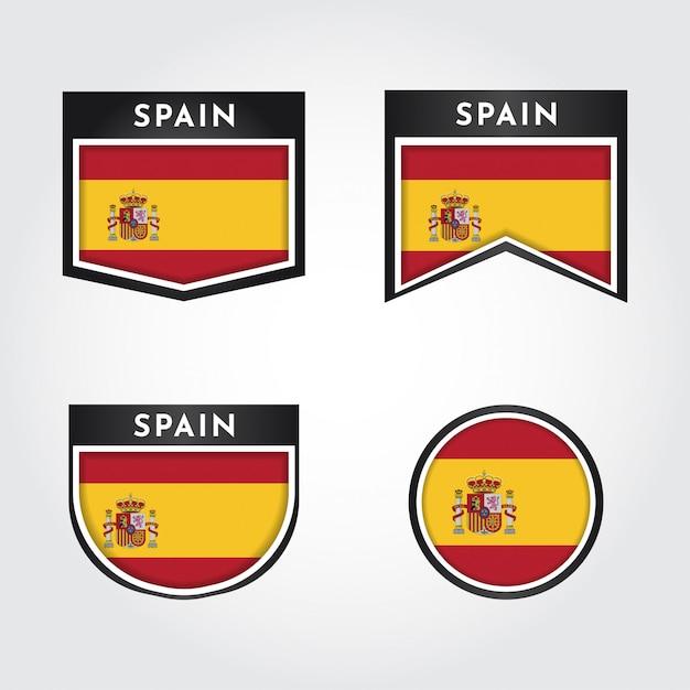 Impostare la bandiera della spagna con le etichette Vettore Premium