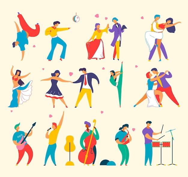 Set di personaggi dei cartoni animati piatti persone che suonano musica, balli, uomo donna Vettore Premium