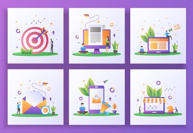 Set di concept design piatto. targeting, ultime notizie, stiamo assumendo, invia mail, marketing digitale, marketing strategico. , app mobile Vettore Premium