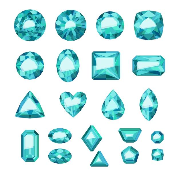 Set di gioielli verdi in stile piatto. pietre preziose colorate. smeraldi su sfondo bianco. Vettore Premium