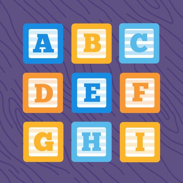 Insieme di blocchi di bambino di alfabeto piatto vettoriale Vettore Premium