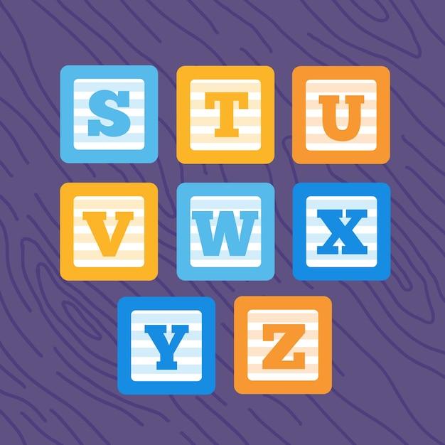 Insieme di blocchi di bambino alfabeto minimalista grassetto vettore piatto. Vettore Premium