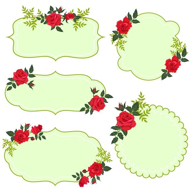 Set di etichette floreali isolare su sfondo bianco. Vettore Premium