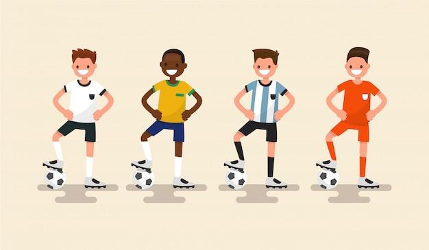 Insieme dell'illustrazione dei giocatori di football americano Vettore Premium