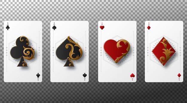 Set di semi di carte da gioco a quattro assi. carte da gioco isolate su sfondo trasparente. Vettore Premium