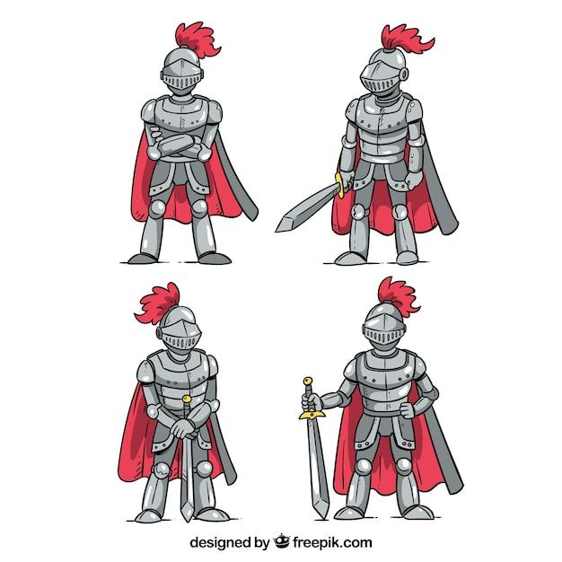 Set di quattro armature cavaliere disegnate a mano con capo Vettore Premium