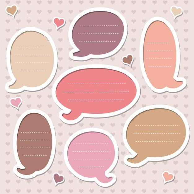 Set di cornici decorate con cuori. bolle di discorso rosa. Vettore Premium