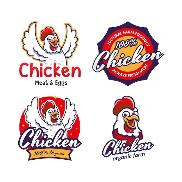 Insieme del modello di logo del ristorante di pollo fritto Vettore Premium