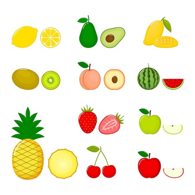 Set di frutta ananas, ciliegia, avocado, kiwi, limone, mela, pesche, anguria, fragola e mango Vettore Premium