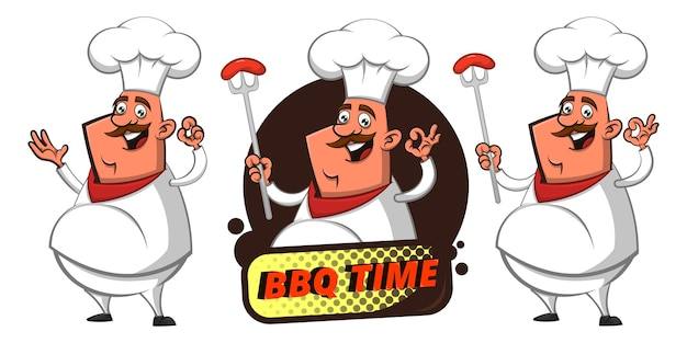 Set di funny big fat chef mostrando salsiccia alla griglia con un delizioso gesto della mano Vettore Premium