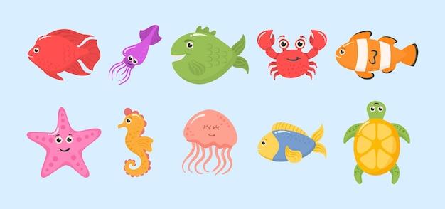 Set di divertenti animali dell'oceano su uno sfondo bianco. Vettore Premium