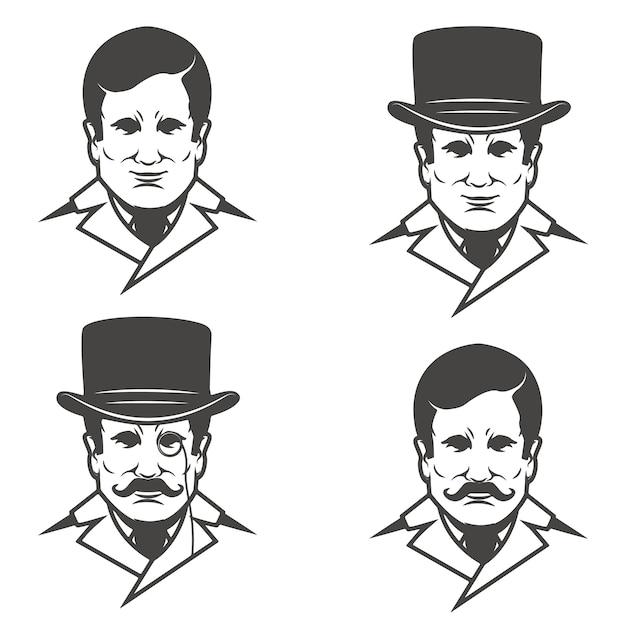 L'insieme delle teste del signore con i baffi su fondo bianco. immagini per, etichetta, emblema, segno. illustrazione. Vettore Premium