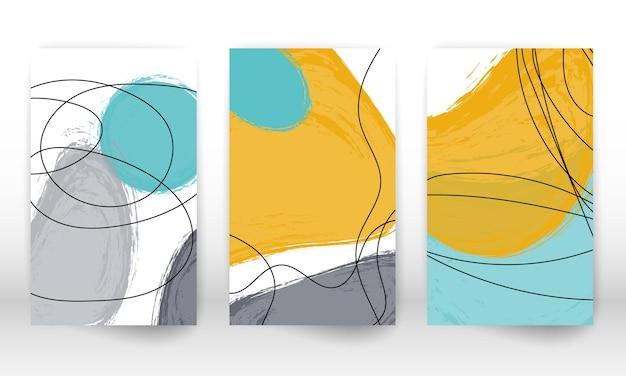 Insieme di forme geometriche. disegno di effetto acquerello disegnato a mano astratto Vettore Premium