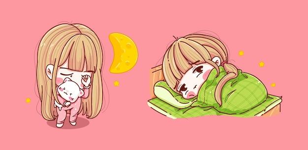Set di ragazza che dorme in camera da letto isolato sul rosa Vettore Premium