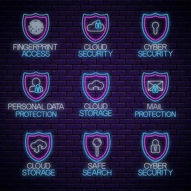Set di insegne luminose al neon. accumulazione di simboli incandescente di tecnologia di protezione di internet. illustrazione vettoriale. sicurezza web, protezione dei dati, emblemi di sicurezza della rete. Vettore Premium