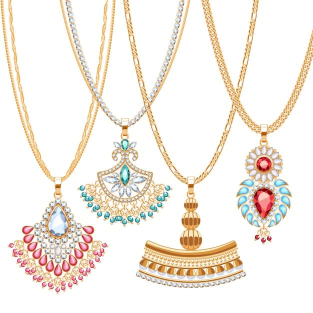 Set di catene dorate con diversi pendenti. collane preziose. spille pendenti in stile etnico indiano con perle di pietre preziose. includere spazzole per catene. Vettore Premium