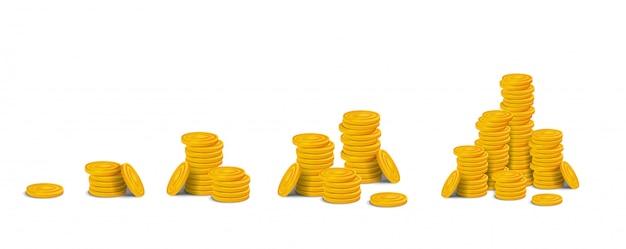 Set di pile di monete d'oro. pile di attività di gioco realistiche di denaro lucido colorato in fila da una moneta a grande pila. illustrazione stock isolato su sfondo bianco Vettore Premium