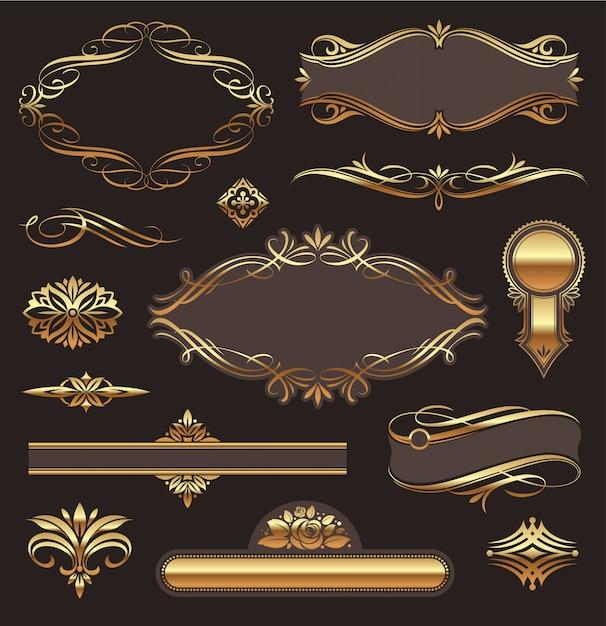 Insieme di elementi di decorazione di pagina ornato d'oro: banner, cornici, devoti, ornamenti e modelli Vettore Premium
