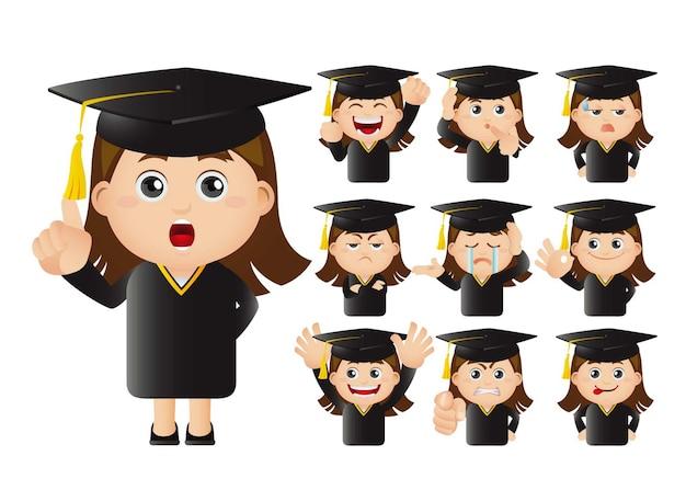 Set di studenti laureati Vettore Premium