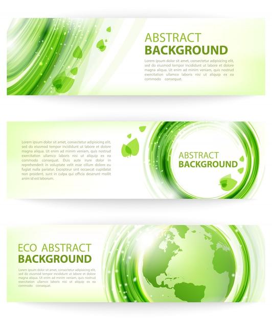Insieme delle bandiere verdi astratte di vettore con terra, disegno di eco. Vettore Premium