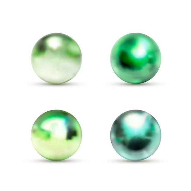 Insieme delle sfere di marmo lucide verdi con luce vivida su bianco Vettore Premium