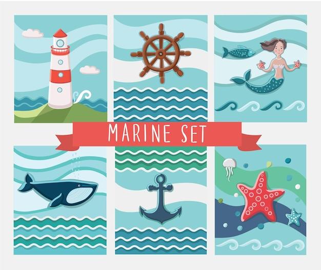 Set di biglietti di auguri marini e illustrazioni di raccolta di elementi marini Vettore Premium