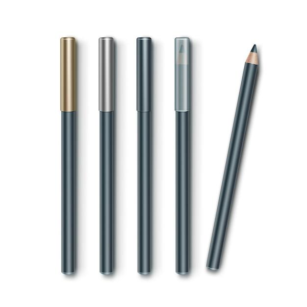 Set di matite eyeliner trucco cosmetico blu grigio Vettore Premium