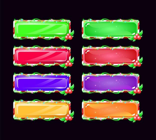 Set di pulsanti natalizi gui in vari colori Vettore Premium