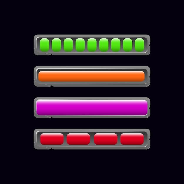 Set di barra di caricamento in pietra gui in vari colori e stile Vettore Premium