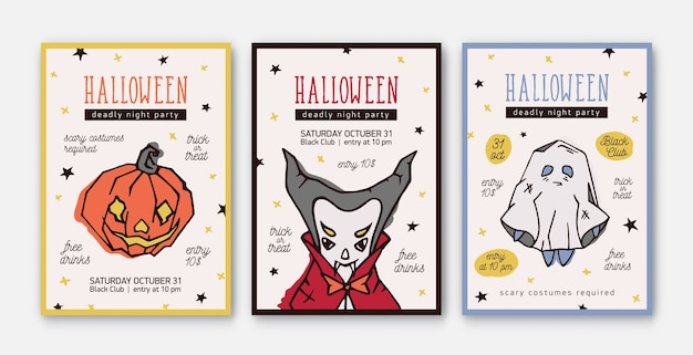 Set di modelli di invito a una festa per la celebrazione di halloween, volantini o poster con personaggi spaventosi e spettrali: lanterna, vampiro e fantasma Vettore Premium