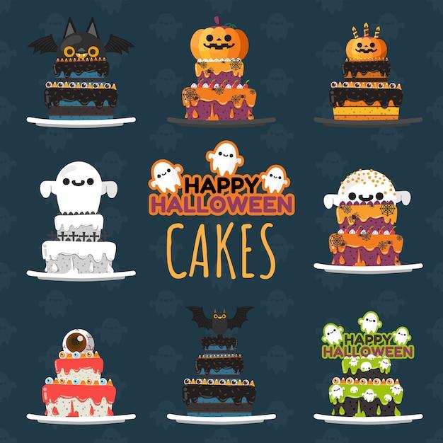 Set di torte decorate di halloween. Vettore Premium