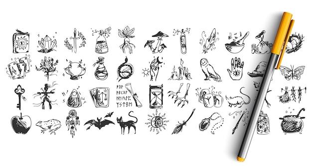 Set di halloween doodle isolato su bianco Vettore Premium