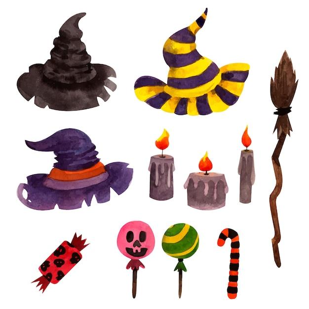 Set di elementi di halloween con cappelli di streghe e candele Vettore Premium