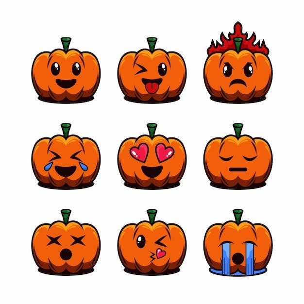 Set di halloween emoticon fumetto illustrazione Vettore Premium