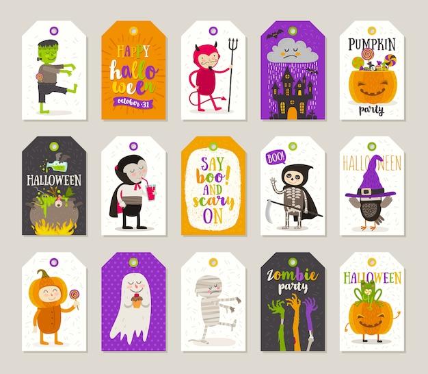 Set di tag regalo di halloween ed etichette con personaggi dei cartoni animati, saluti, segno di festa e simbolo. illustrazione. Vettore Premium