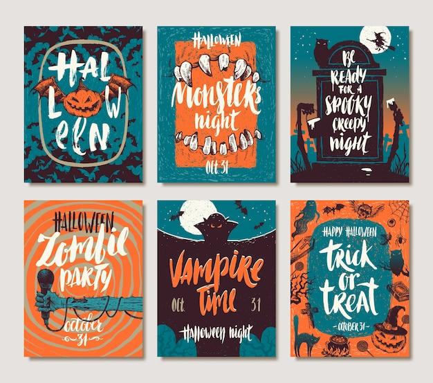Set di poster o cartolina d'auguri disegnati a mano di vacanze di halloween con citazioni, parole e frasi scritte a mano di calligrafia. illustrazione. Vettore Premium