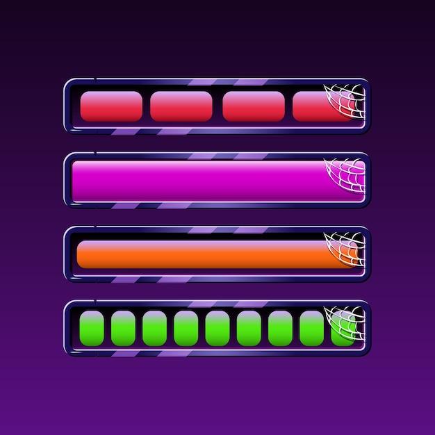 Set di barra di caricamento di halloween in vari colori per gli elementi delle risorse della gui Vettore Premium