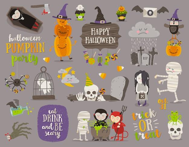 Set di segno di halloween, simboli, oggetti, oggetti e personaggi dei cartoni animati. illustrazione. Vettore Premium