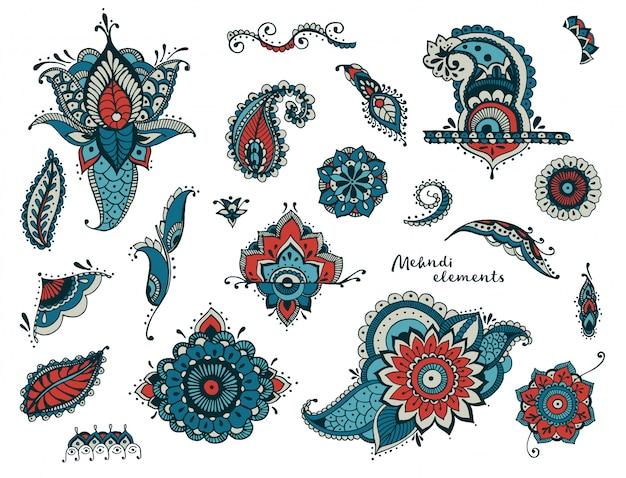 Insieme di elementi mehndi diversi disegnati a mano. fiori stilizzati, fiori, foglie, collezione paisley indiana. Vettore Premium