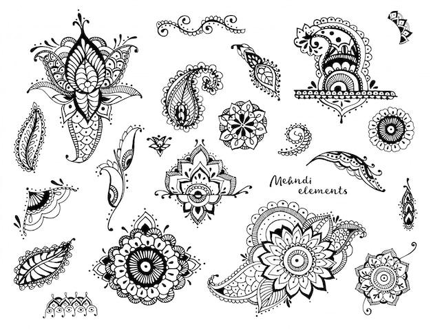 Insieme di elementi mehndi diversi disegnati a mano. fiori stilizzati, foglie, collezione paisley indiana. Vettore Premium