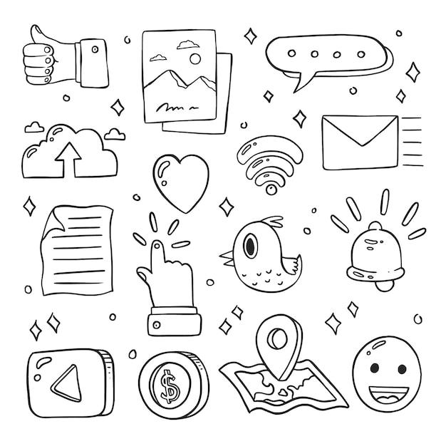 Set di icone di social media carino doodle disegnato a mano Vettore Premium