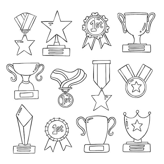 Set di medaglia doolde disegnati a mano e trofeo Vettore Premium