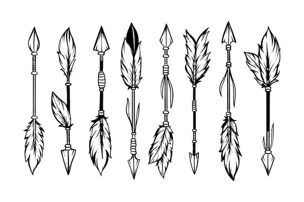 Set di stile boho frecce etniche disegnate a mano Vettore Premium