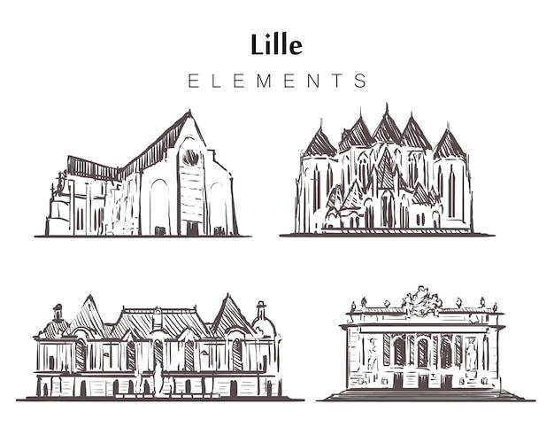 Insieme di edifici di lille disegnati a mano Vettore Premium