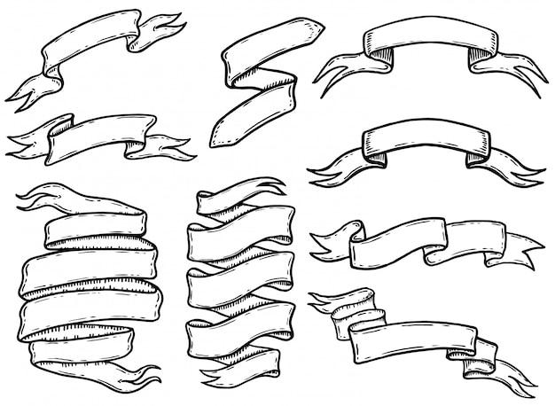 Set di nastri disegnati a mano e banner. elemento per logo, etichetta, emblema, segno, poster, maglietta. illustrazione Vettore Premium